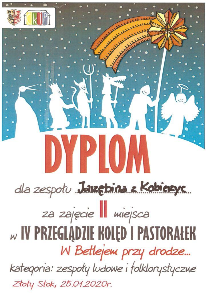 Dyplom dla zespołu folklorystycznego Jarzębina za zajęcie 2 miejsca w IV przeglądzie kolęd i pastorałek